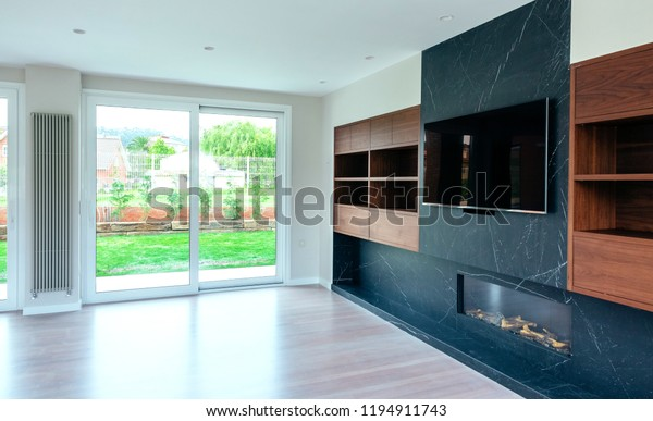 Large Living Room Empty Fireplace Tv Stock Photo Edit Now 1194911743