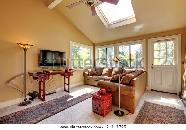 Large Living Room Sofa Tv Brown Stock Photo (Edit Now) 121117795