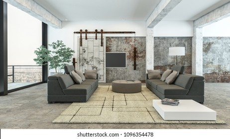 Large luxury airy spacious modern living room interior with comfortable upholstered lounge suite on a geometric patterned rug and large view windows leading to a patio. 3d rendering