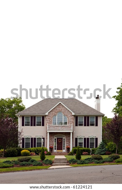 Large Luxury Home Isolated Over White Stock Photo (Edit Now) 61224121