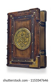 Large luxury leather - wooden book with a gilded transmutation circle in center of the front cover, attributed to a German alchemist from the 17th century. It stay on the table, angled on the right