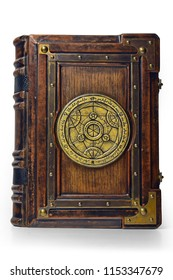 Large luxury leather - wooden book with a gilded transmutation circle in center of the front cover, attributed to a German alchemist from the 17th century. It stay on the table, captured frontal