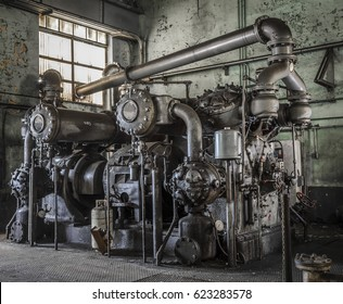 Large machine in an abandoned factory