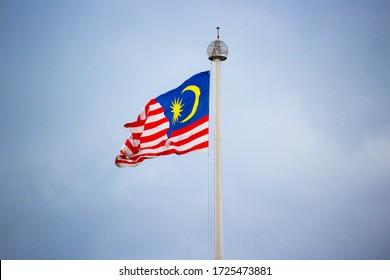 Large Malaysian Flag Fluttering over Merdeka Square