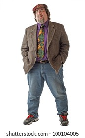 Large man in tweed cap and jacket smiles and stands with legs apart and both hands in pockets. Isolated on white background, vertical, copy space.