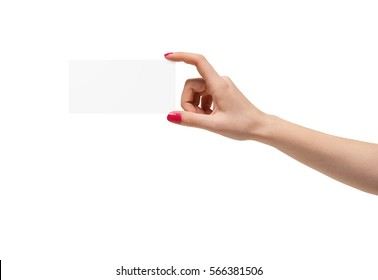 Large manicured hand on white background holding a blank square piece of paper. Health and beauty business. Hand care.