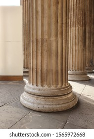 Large marble column detail in London