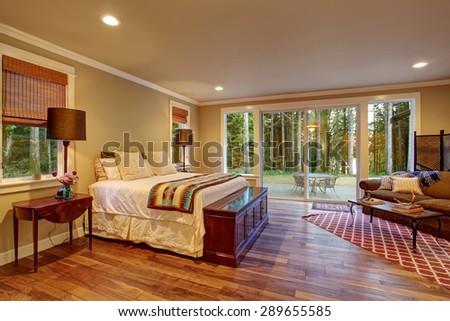 Large Master Bedroom Hardwood Floor Sliding Stock Photo Edit Now