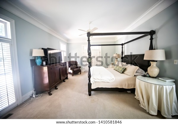 Large Master Bedroom Vaulted Ceilings Canopy Stock Photo ...