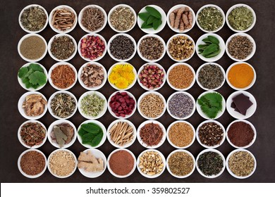 Large medicinal herb selection for womens health care over lokta paper background.