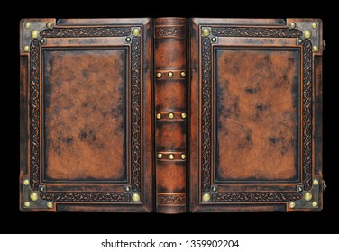 Large medieval book cover with the tree of life, leather bound with brass corners over the black background in high resolution
