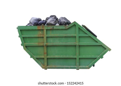 large metal garbage bin isolated on white background with clipping path