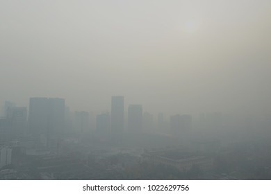 Large metropolitan city with terrible air pollution and smog, a contributor to health problems and potentially linked to global warming and climate change due in part to burning of fossil fuels