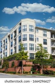 A large modern condominium or apartment building