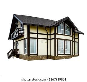 Large modern cottage, house. Isolated on white background.