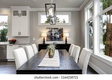 Large modern luxury living room interior in Bellevue home.