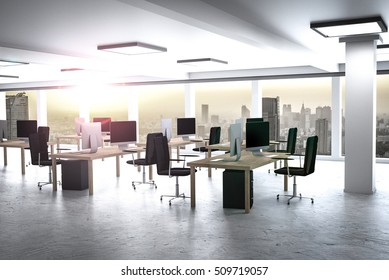 large modern office with urban skyline 3D Illustration