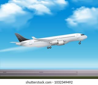 Large modern passenger airliner jet takeoff realistic air transportation services advertisement poster blue sky background  illustration