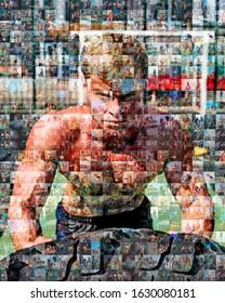 large mosaic of sports photos