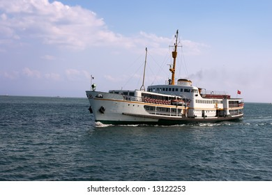 Large motor boat in ocean with turkish flag