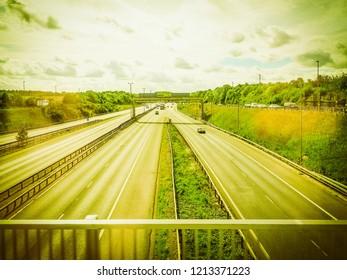 Large motorway in London, UK vintage retro