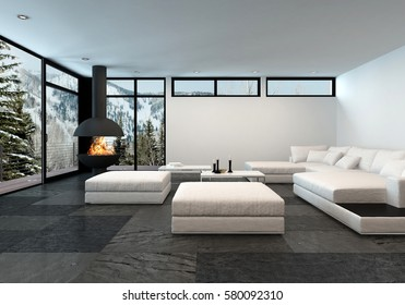 Large mountain view apartment with fireplace and all white minimalistic furnishings. 3d rendering