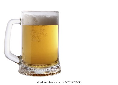 large mug of light beer. tasty beverage in a pint of beer on a white background