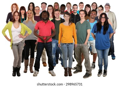 Large multi ethnic group of smiling young people isolated on a white background
