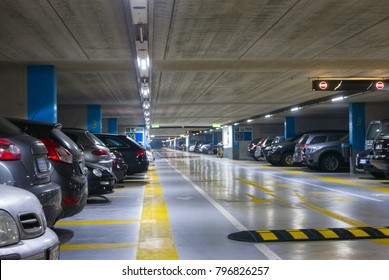 Large multi-storey underground car parking garage