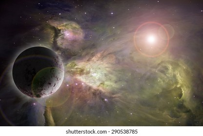 large nebula in outer space with a single planet and  lensflare