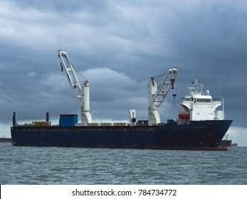 Large newly built specialized ship lies idle and empty off Panama. This type of vessel is used to carry premade industrial factory modules from Asia to Europe and North America
