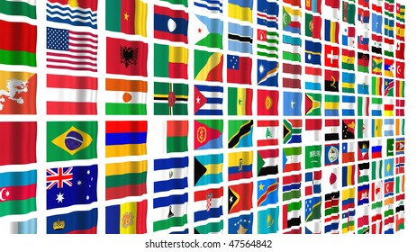 Large number of national flags isolated on white.