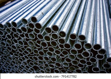 A large number of steel pipe