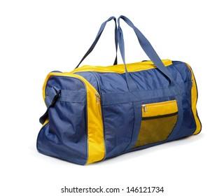 Large nylon sports bag isolated on white