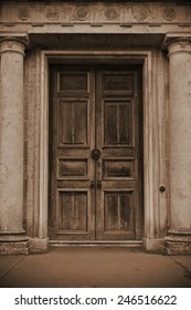 Large Oak Door of an Old House