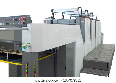 Large offset printing machine isolated on white, clipping path included
