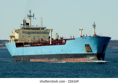 A large oil tanker off the coast of Portland, Maine.  See my gallery for other views of this ship.