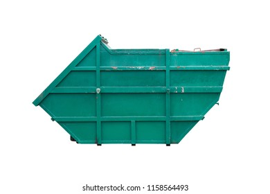 Large old iron trash painted green to prevent rust isolated on white background with clipping path. Trash is used for installation on garbage trucks.