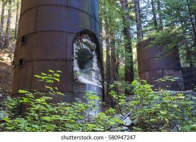 Large old rusty lime kilns at Limekiln State Park in Big Sur, Californa.