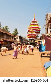 large old wooden chariot in Gokarna. March 09, 2016. Gokarna, Karnataka, India