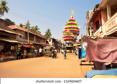 large old wooden chariot in Gokarna. March 09, 2016. Gokarna, Karnataka, India