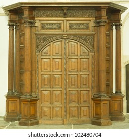A large old wooden door