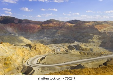 A large open pit copper mine in southwestern United States
