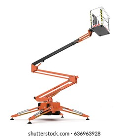 large orange extended scissor lift platform on white. 3D illustration
