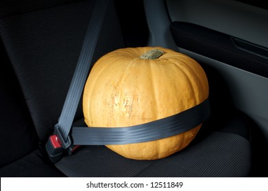 Large orange Halloween pumpkin sitting in car with seat belt. Could also be used as conceptual photograph for food transport.