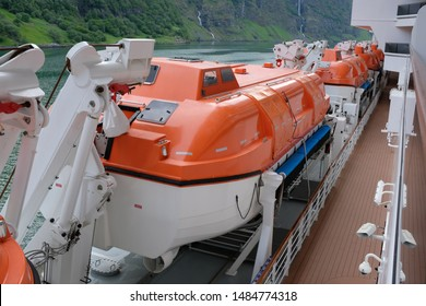 Large Orange Rescue Boats or Lifeboats