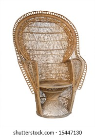 Large Ornate Cane Chair isolated with clipping path