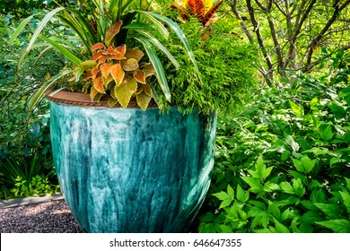 Large outdoor potted plant. Beautiful pot glazed in shades of blue and teal with assorted foliage plants.