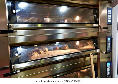 Large oven for baking bread in a bakery