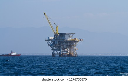 Large Pacific Ocean offshore oil rig drilling platform off the southern coast of California, between Ventura and the Channel Islands, circa September 2012